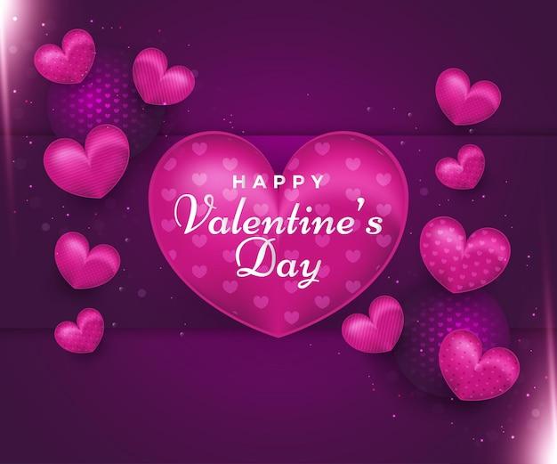 Feliz dia dos namorados com corações roxos e bolas em fundo de papel cortado