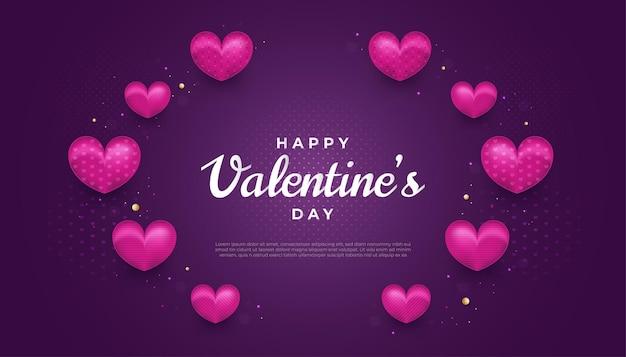 Feliz dia dos namorados com corações roxos e efeito de glitter em fundo roxo