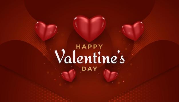 Feliz dia dos namorados com corações vermelhos 3d