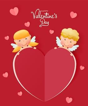 Feliz dia dos namorados com cupido fofo e ilustração do estilo de arte 3d