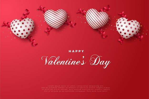 Feliz dia dos namorados com dois balões de amor listrados e dois pontos