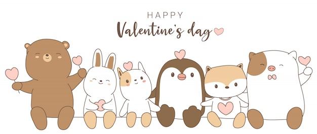 Feliz dia dos namorados com estilo bonito dos desenhos animados mão desenhada animal