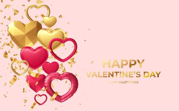 Feliz dia dos namorados com formas diferentes de coração dourado e vermelho