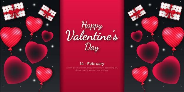 Feliz dia dos namorados com fundo coração e caixa de presente