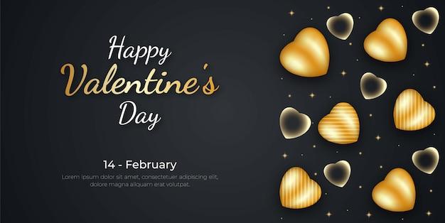 Feliz dia dos namorados com fundo de coração dourado