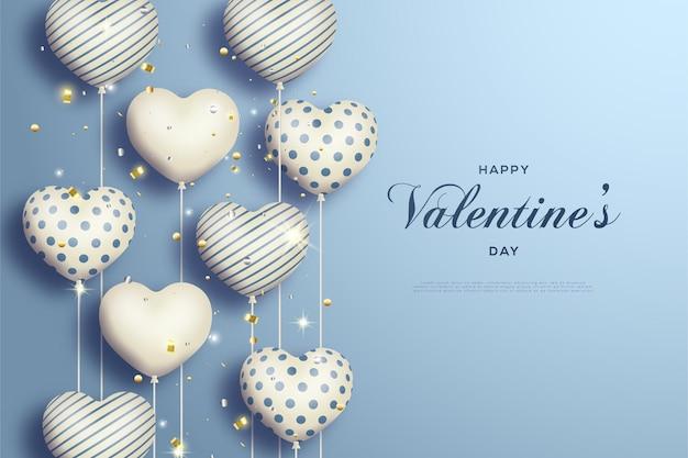 Feliz dia dos namorados com ilustração de balões de amor