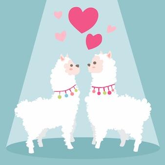 Feliz dia dos namorados com lhama casal apaixonado