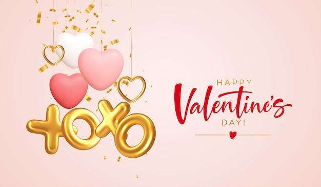 Feliz dia dos namorados com ouro, formas diferentes de coração vermelho e uma inscrição xoxo de balões de folha de ouro.