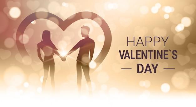 Feliz dia dos namorados, com, par, segurar, mãos, sobre, bokeh, dourado, borrão, luz brilhante