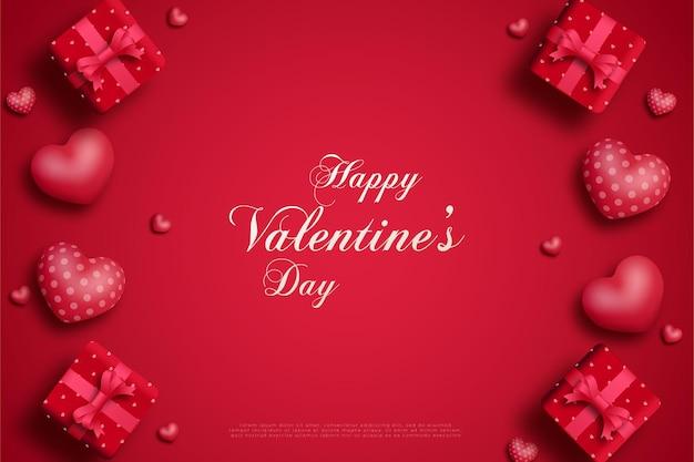 Feliz dia dos namorados com quatro balões de amor e uma caixa de presente em cada esquina