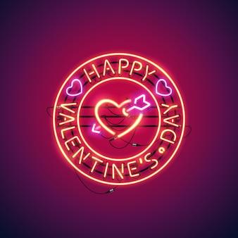 Feliz dia dos namorados com sinal de néon de coração em chamas