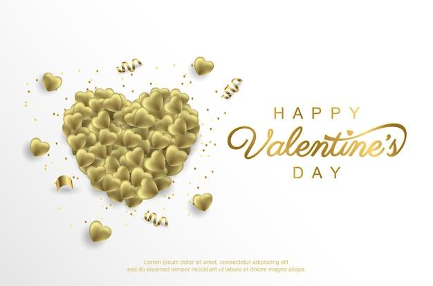 Feliz dia dos namorados com um balão de amor dourado realista em branco