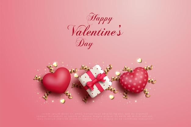 Feliz dia dos namorados com uma caixa de presente no meio de dois balões de amor.