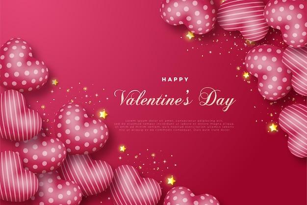 Feliz dia dos namorados com uma ilustração de balão de amor no canto superior direito e inferior esquerdo.