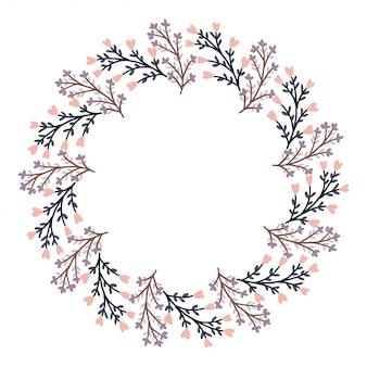 Feliz dia dos namorados com vetor de grinalda de flor.