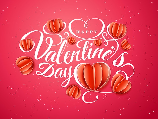 Feliz dia dos namorados. composição da fonte com corações vermelhos de papel isoladas em fundo vermelho. ilustração em vetor belas férias românticas. estilo de papel artesanal.