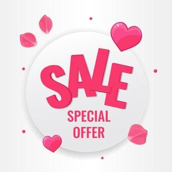 Feliz dia dos namorados conceito. banner do círculo com corações rosa e pétalas de rosa em fundo branco.