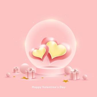 Feliz dia dos namorados conceito com coração brilhante dentro do globo de vidro, bolas e caixas de presente em fundo rosa pastel.