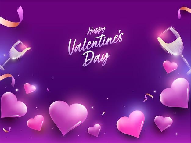 Feliz dia dos namorados conceito com corações brilhantes, taças de vinho, confetes e efeito de luzes sobre fundo roxo.