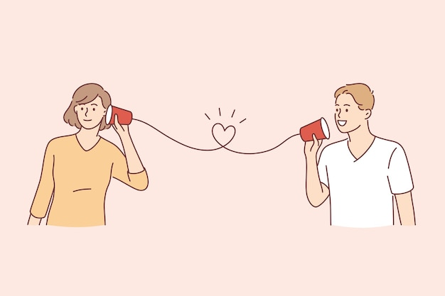 Feliz dia dos namorados conceito de férias. feliz sorridente jovem casal bonito cartão telefônico no telefone de papel, ouvindo e falando, comunicando a ilustração vetorial