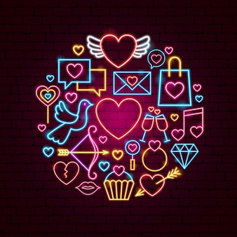 Feliz dia dos namorados conceito de néon. ilustração em vetor de promoção de amor.
