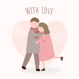 Feliz dia dos namorados conceito festival com casal se abraçando.