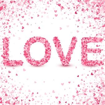 Feliz dia dos namorados conceito. respingo de confete rosa coração.