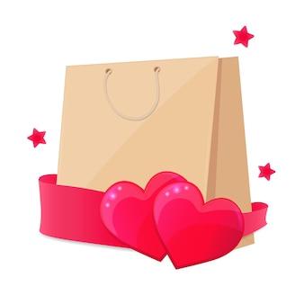 Feliz dia dos namorados conceito. saco de compras de papel com dois corações rosa e estrelas