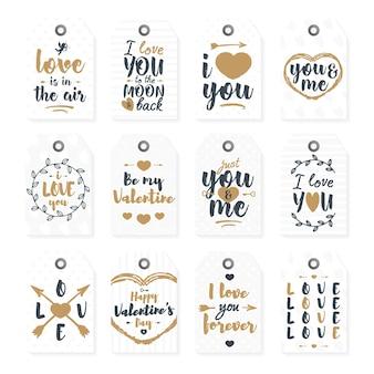 Feliz dia dos namorados conjunto com adorável rotulação tipografia parabéns estilo ouro sobre fundo branco.