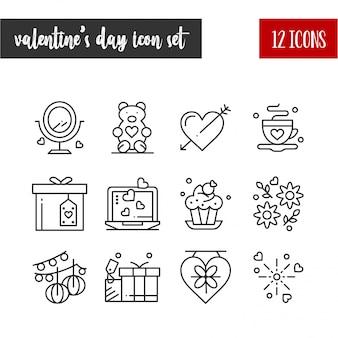 Feliz dia dos namorados contorno 12 conjunto de ícones