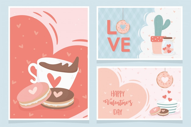 Feliz dia dos namorados copo de chocolate com biscoitos amor coração cacto presentes cartão conjunto