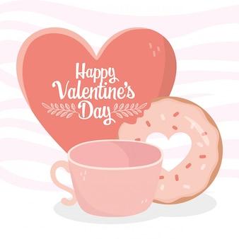Feliz dia dos namorados coração amor doce donut e xícara de café cartão
