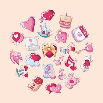 Feliz dia dos namorados, coração, amor, presente, bolo, chave, balão, ícones, calendário, conjunto, mão, desenhado, estilo, vetorial, illustration