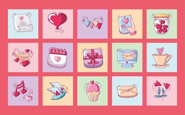 Feliz dia dos namorados, coração amor romântico bolo mensagem calendário ícones conjunto mão desenhada estilo ilustração vetorial