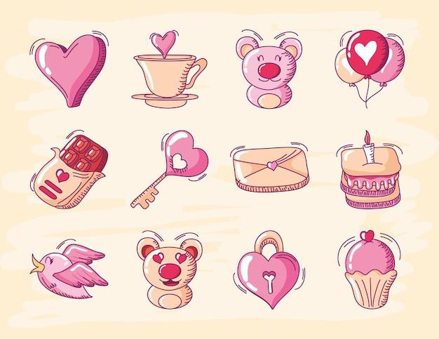 Feliz dia dos namorados, coração amor urso balão bolo correio pássaro ícones conjunto mão desenhada estilo ilustração vetorial