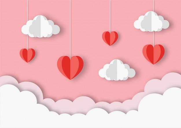 Feliz dia dos namorados. coração com nuvens papel arte estilo de fundo.
