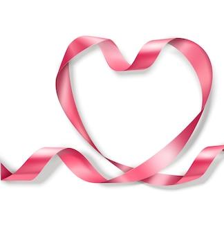 Feliz dia dos namorados. coração de fita rosa em fundo branco. conceito de dia dos namorados.
