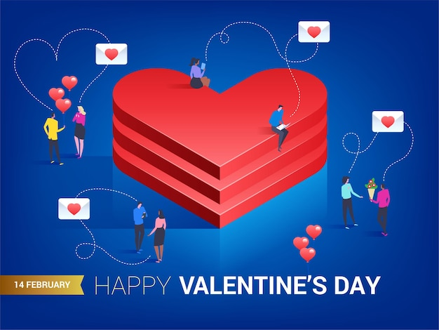 Feliz dia dos namorados. coração em estilo isométrico. o amor está no ar. pessoas pequenas trocando mensagens entre si.