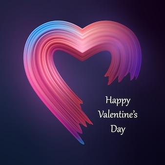 Feliz dia dos namorados coração forma de pincel líquido.