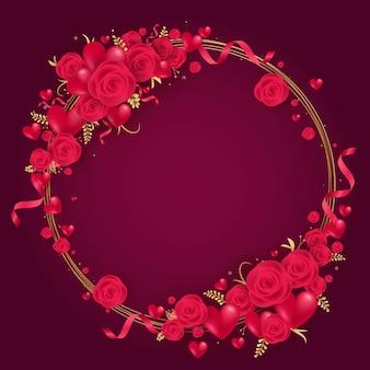 Feliz dia dos namorados coração vermelho e moldura de rosas