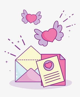 Feliz dia dos namorados, corações de carta de envelope de mensagem com asas dos desenhos animados de ilustração vetorial