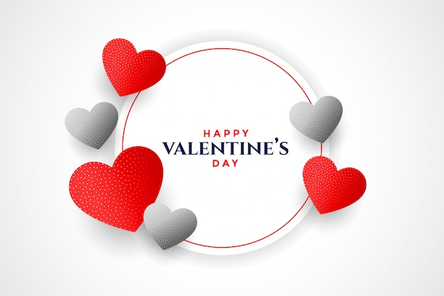 Feliz dia dos namorados corações moldura design de cartão