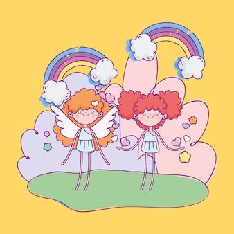 Feliz dia dos namorados, cupidos bonitos dos desenhos animados fantasia de arco-íris de corações