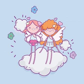 Feliz dia dos namorados, cupidos bonitos em corações de nuvem amam flores românticas