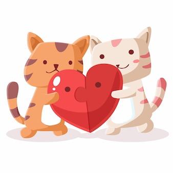 Feliz dia dos namorados de casal gato com coração de quebra-cabeças