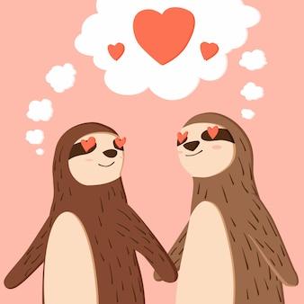 Feliz dia dos namorados de preguiça de casal de mãos dadas