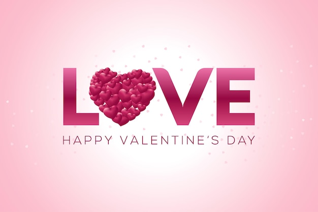 Feliz dia dos namorados desenho de letras com corações