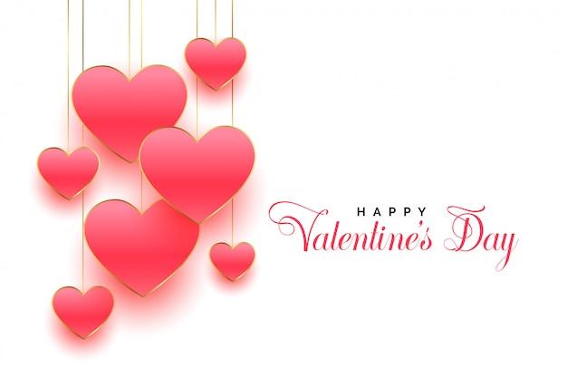 Feliz dia dos namorados design de cartão de corações rosa linda