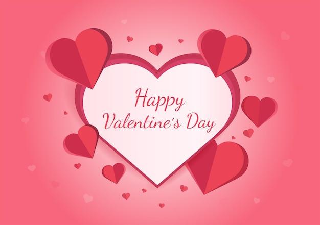 Feliz dia dos namorados design de cartão de saudação com corações de papel Vetor Premium