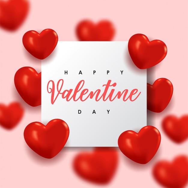Feliz dia dos namorados. design romântico com corações vermelhos